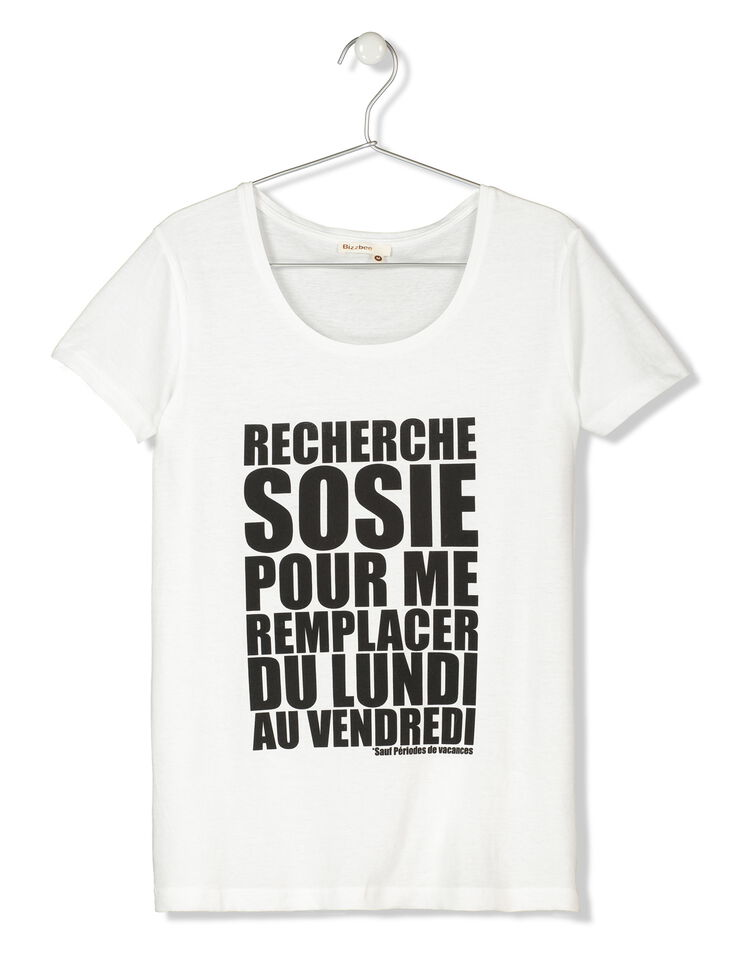 t shirt manches courtes message femme blanc bizzbee. Black Bedroom Furniture Sets. Home Design Ideas