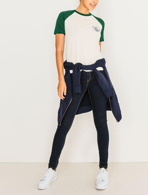 T-shirt bicolore manches courtes femme