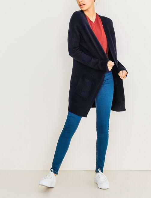 Gilet long poche plaquées femme