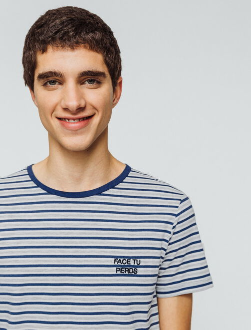 """T-shirt rayures typo """"Face tu perds"""" homme"""