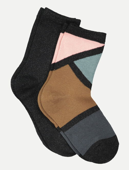 Chaussettes colorblock graphiques femme
