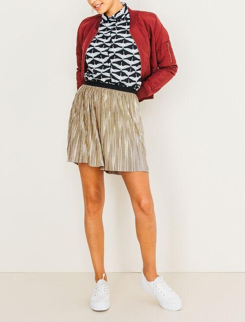 Jupe courte plissée métallisée  femme