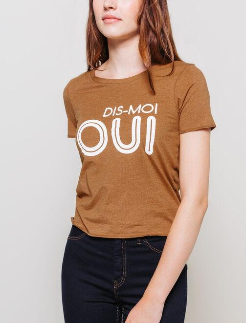 """T-shirt imprimé """"Dis-moi oui"""" femme"""