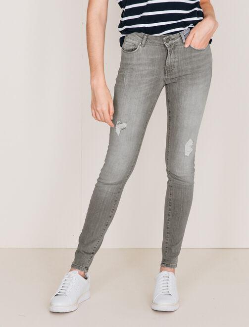 Jean skinny effet destroy femme