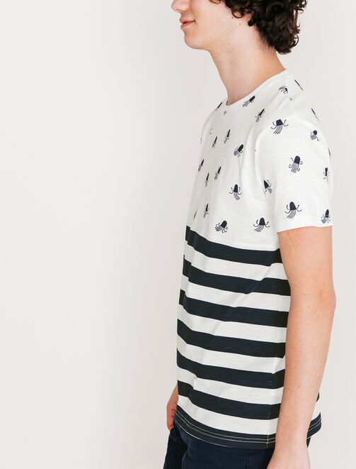Tee shirt color-block poulpe homme