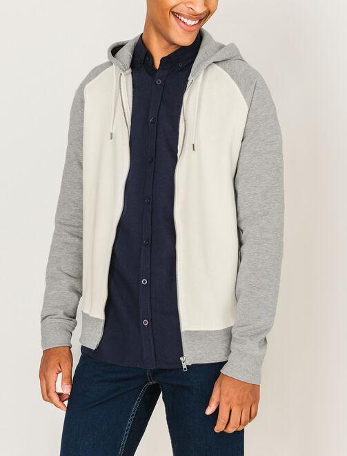 Sweat à capuche zippé bicolore homme