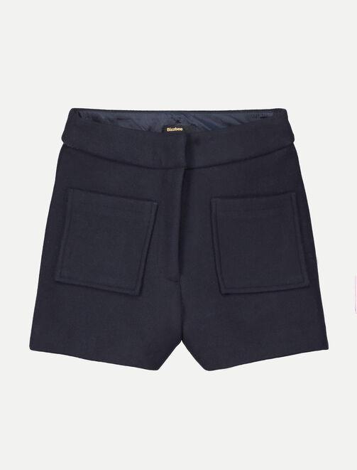 Short taille haute à poches femme