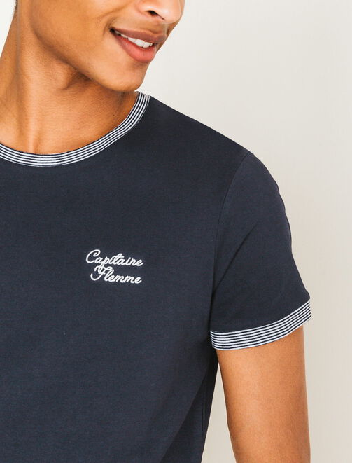 "T-shirt broderie ""Capitaine Flemme"" homme"