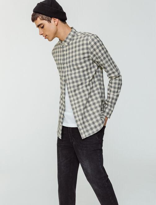 Chemise à carreaux moulinée homme
