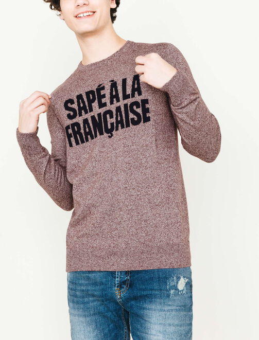 Pull col rond message jacquard homme