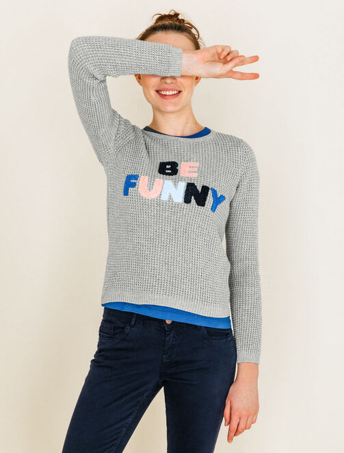"Pull brodé ""Be funny"" femme"