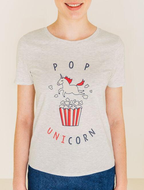 T-shirt imprimé licorne / Pop unicorn femme