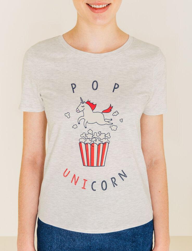t shirt imprim licorne pop unicorn femme gris chine clair bizzbee. Black Bedroom Furniture Sets. Home Design Ideas
