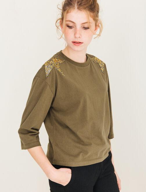 T-shirt étoiles strass sur les épaules femme