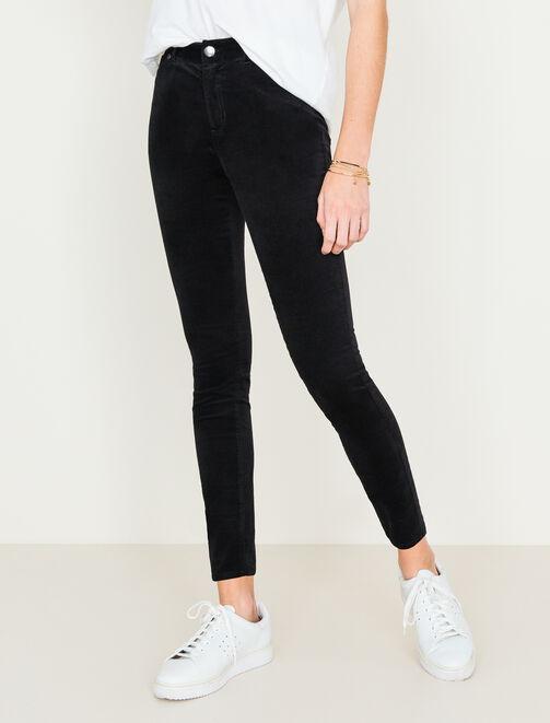 Pantalon skinny en velours femme