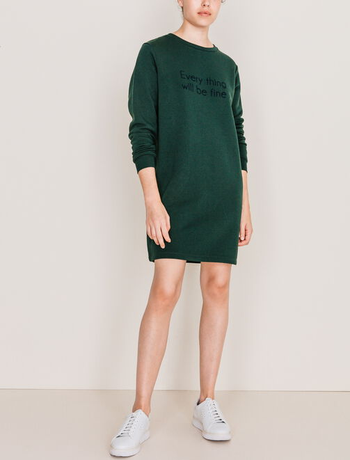 Robe sweat à message femme