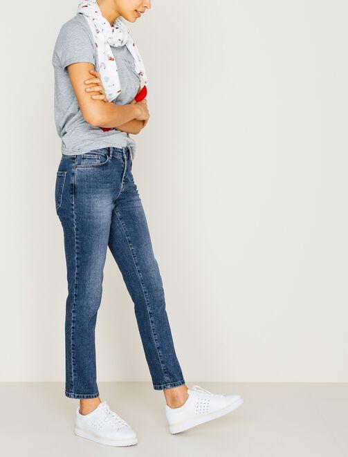 Pantalon denim coupe slim bas raccourci femme