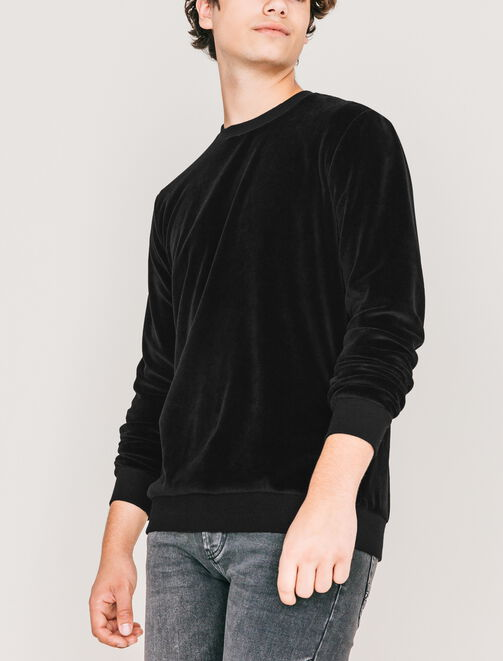 Sweat col rond velours homme