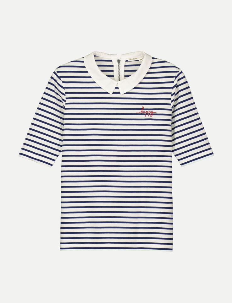 T-shirt rayé col contrasté