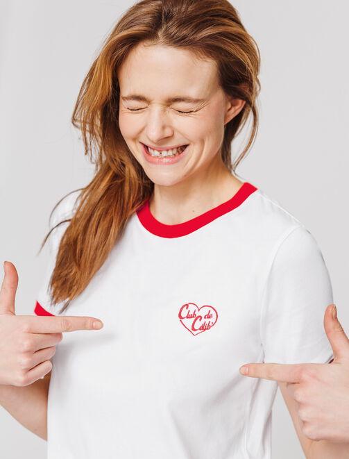 "T-shirt St Valentin brodé "" Club de Célib"" femme"