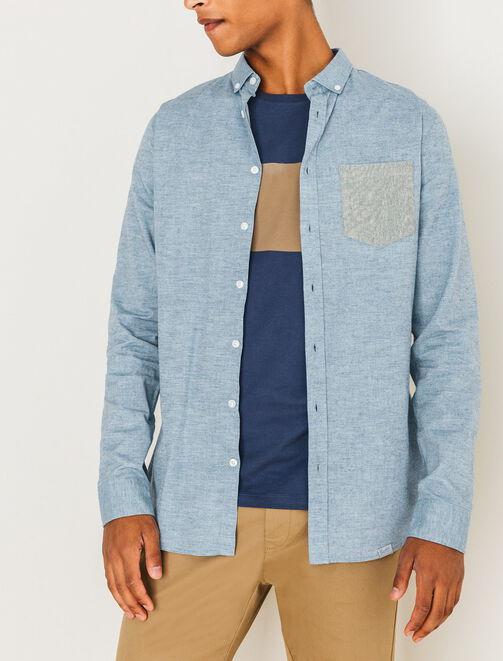 Chemise poche contrastée homme