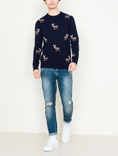 Pull col rond Jacquard motif renne homme
