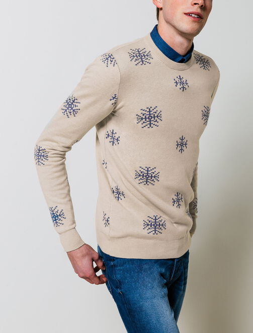 Pull jacquard flocons homme