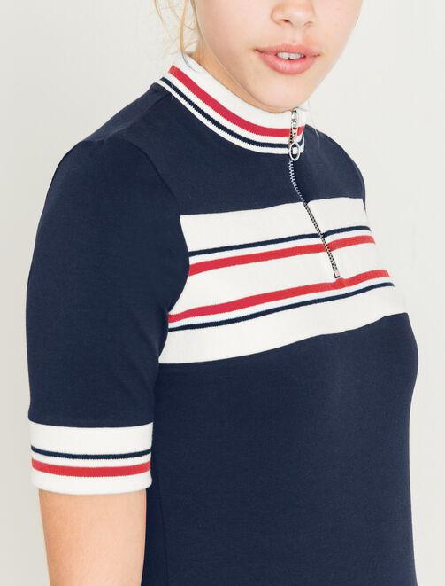 T-shirt à rayures col zippé femme
