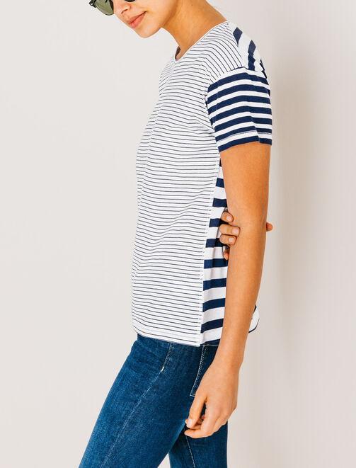T-shirt col rond rayé femme