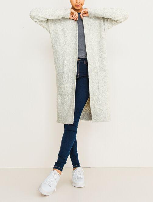 Gilet extra long capuche et poches plaquées femme