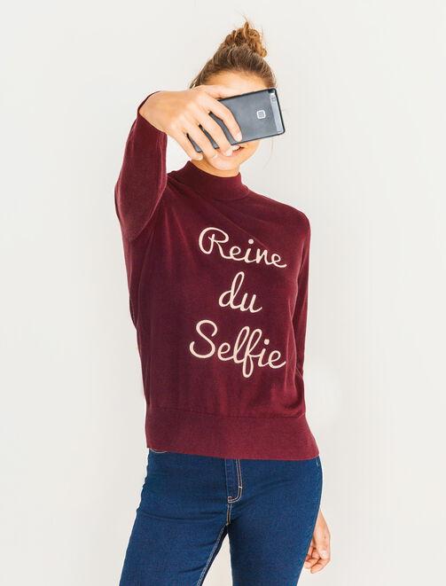 "Pull col montant broderie ""Reine du selfie"" femme"