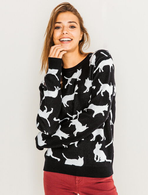 Pull col rond motif chats  femme
