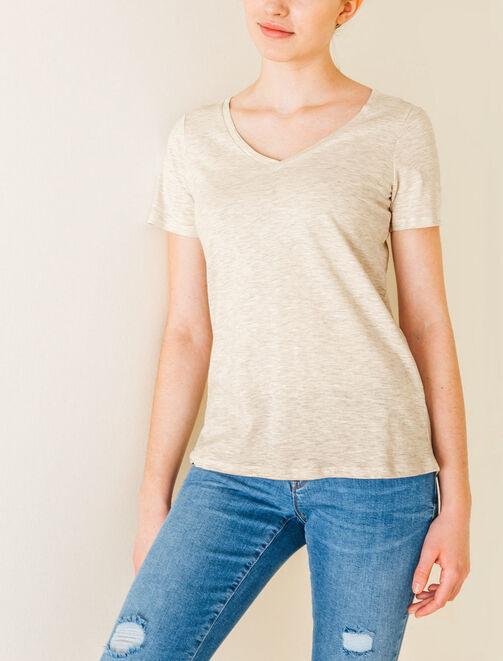 T-shirt uni col V femme