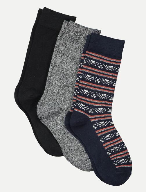 Lot de 3 chaussettes jacquard  homme