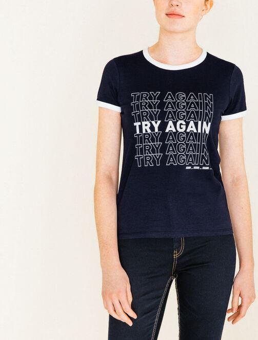 Tee shirt imprimé Try Again femme