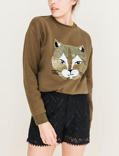 Sweat avec design chat à paillettes femme