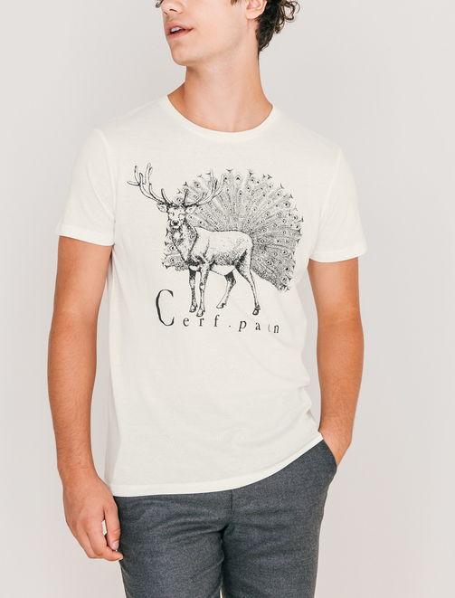 T-shirt imprimé Cerf-Paon homme