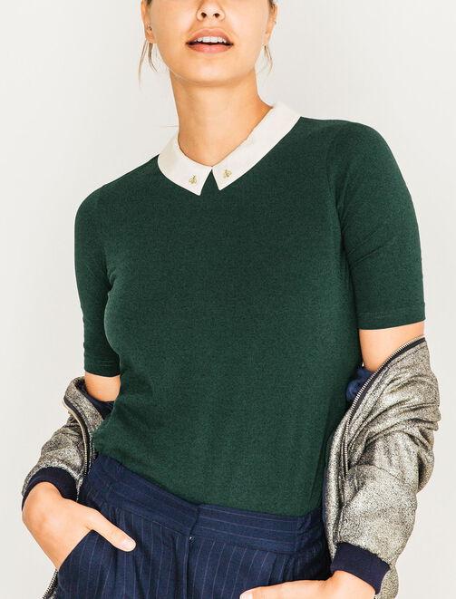 T-shirt col contrasté brodé or femme