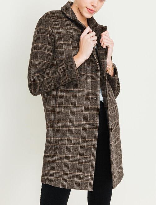 Manteau lainage carreaux  femme