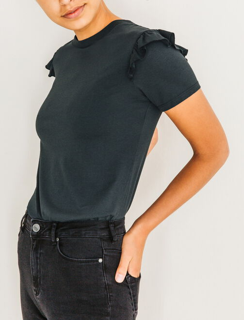 T-shirt volants épaules femme