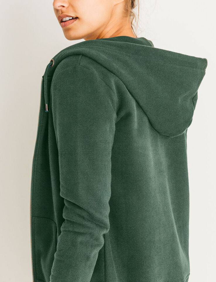 sweat zipp capuche femme vert bouteille bizzbee. Black Bedroom Furniture Sets. Home Design Ideas