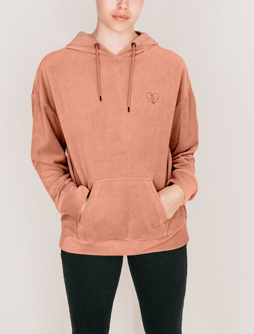 Sweat à capuche à enfiler en velours femme
