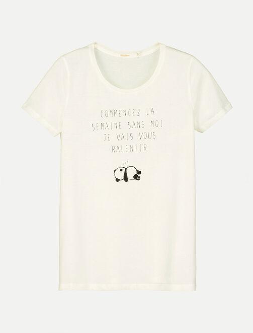 """T-shirt Panda """"Commencez la semaine sans moi..."""" femme"""