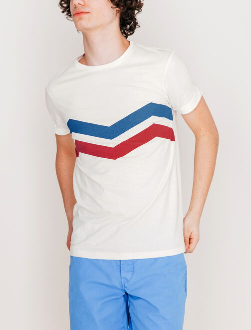 Tee shirt rayures graphiques homme