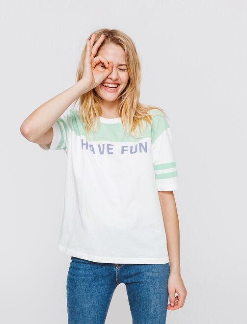 """T-shirt colorblock à message """" HAVE FUN"""" femme"""