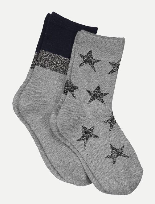 Lot de 2 chaussettes à paillettes femme