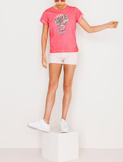 Tee shirt délavé imprimé rétro femme