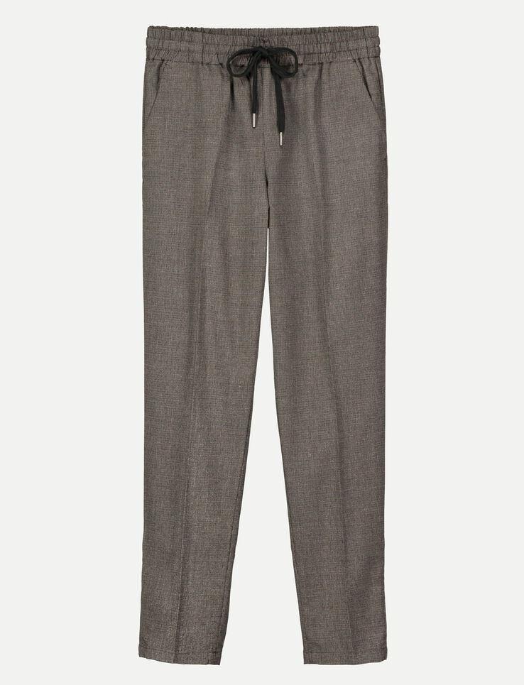 Pantalon city carreaux femme gris chin bizzbee for Pantalon a carreaux