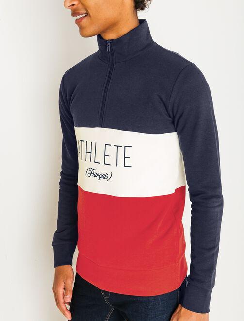 """Sweat color block """"Athlète Français"""" homme"""
