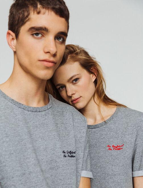 "T-shirt St Valentin ""NO BOYFRIEND NO PROBLEM"" femme"